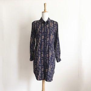 Maison Jules Navy and Tan Shirt Dress Size Small